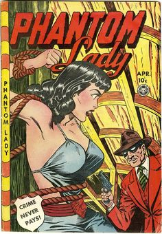Phantom Lady #23, april 1949, cover by Jack Kamen.