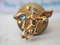Cherub Angel Lapel Pin Light Blue Rhinestone by ALEXLITTLETHINGS