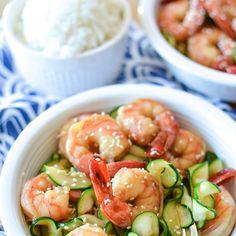 5 Ingredient Honey Garlic Shrimp Recipe Main Dishes with ginger, garlic cloves, honey, soy sauce, deveined shrimp