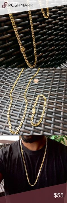 New 14k Gold Finish Cuban Link Chain & Bracelet Brand new never worn before. Men's Miami Cuban Link Gold Chain and bracelet set. 14k Gold plated Stainless steel. A must for the summer and vacation! 30 inches in length and 10mm thick! Accessories Jewelry