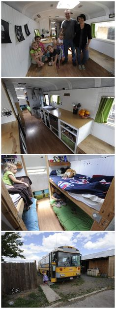 2 parents, 4 kids, 1 school bus. Family of 6 downsized and now live in converted bus.