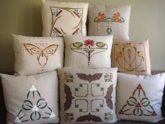 Hand embroidered Arts & Crafts Pillow. Original designs (except for the Cone Flower pillow in the top right corner).