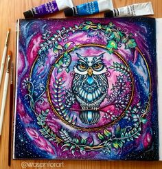 "401 mentions J'aime, 67 commentaires - Wasan Khalid Ibrahim (@wasanforart) sur Instagram : ""Hello everyone.. i finished colouring this cute owl from colouring book ""enchanted forest"" by…"""