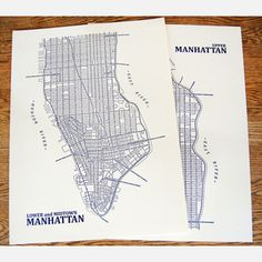 map of manhattan from axis maps.  put little pins w ith flags on it for places we've been and loved.