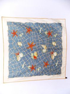 18758fde6b607 Jim Thompson Silk Scarf Sea Shell Starfish Beach Print Womens Accessories  32.5