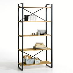 Hiba 5-level shelving unit in oak and steel , natural, La Redoute Interieurs | La Redoute Shelf Unit, Industrial Bookcases, Wall Shelving Units, Shelving Unit, Furniture Shop, Bookcase, Bookcase Storage, Ikea Childrens Bookshelf, Wood Bookcase