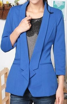 Blue Lapel Long Sleeve Covered Button Pockets Suit