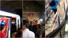 Un tren de la línea 9 de Metro ha tenido que ser evacuado en Príncipe de Vergara después de que a una viajera le haya explotado el ordenador portátil . Character, Train, Fiestas, Lettering