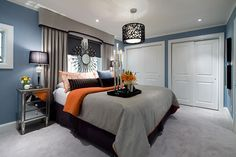 Bedroom Designs   Jane Lockhart Interior Design: Good color combo - greyish blue with grey and orange.  Can't tell if the bedskirt is brown or plum.