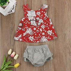 f43fc2d586c US Flower Newborn Baby Girls Outfit Clothes Romper Tops T-shirt+Shorts  Pants Set