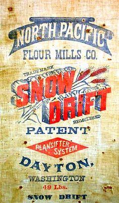 SNOW DRIFT flour sack.