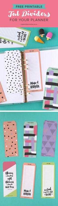 Free Printable Tab Top Dividers for Your Planner from Clementine Creative