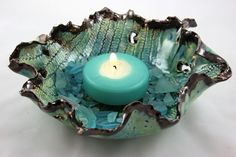Clay Candle Holder Ceramic Pottery Free by SueDicksonGallery, $65.00