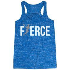 7a6fbae11 Girls Lacrosse Loose Fit Racerback Tank Top - Fierce (Lacrosse Girl with  Silver Glitter)   Blue, Women's, XS   Girls Lacrosse Apparel