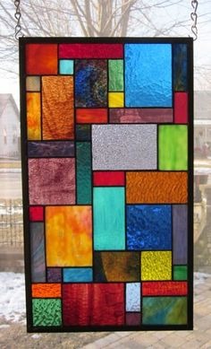 Paradise Stained Glass Window Panel Abstract Geometric EBSQ Artist