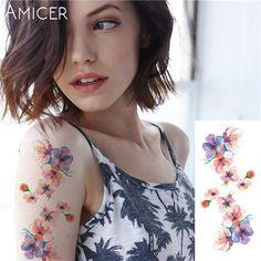 98dbb9ec7fdf8 rose artificial flowers arm shoulder tattoo stickers flash henna tattoo  fake waterproof temporary tattoos sticker women