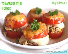 tomates con atún y queso fundido Kitchen Recipes, Cooking Recipes, Queso Fundido, Tapas, Sin Gluten, Tea Party, Food And Drink, Easy Meals, Keto