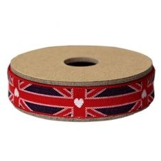 RIBBON UNION JACK AND HEART EMBROIDERED