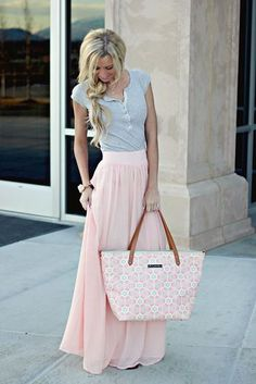 maxi skirt in pink pastel- not all maxi skirts need to be paired with a crop top