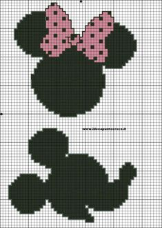Minnie and mickey cross stitch pattern Cross Stitch Disney, Disney Cross Stitch Patterns, Cross Stitch For Kids, Cross Stitch Baby, Cross Stitch Charts, Beaded Cross Stitch, Crochet Cross, Cross Stitch Embroidery, Silhouette Mickey