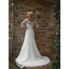 A Line Chapel Train Off the Shoulder 3/4 Length Sleeves Ivory Wedding Dress With Sleeves - Star Bridal Apparel