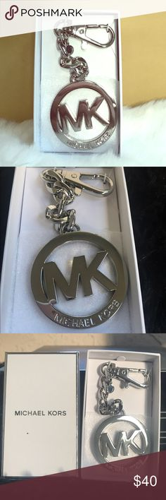 "Key Charm MK Key Chain Medallion Logo Silver Key Charm MK Key Chain Medallion Logo of Michael Kors. Brand New With Tag Michael Kors Chain Fob MK Logo Charm in Silver.  Authentic!   Measures: 2""(W) x 5.75"" (H)  Come with MK Box Michael Kors Other"