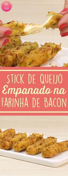 Junção perfeita de QUEIJO e BACON!! Saiba como fazer um stick de queijo empanado com bacon