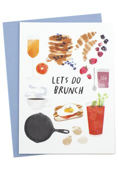 Set a date for brunch (the best meal hybrid to ever be created) with this beautifully illustrated card! Dimensions: Measures x Details: Includes coordinating envelope. Redcruiser is a coll Food Illustrations, Illustration Art, Brunch Invitations, Branding, Paper Goods, Food Art, Hand Lettering, Stationery, Doodles