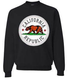 Dolphin Shirt Co California Republic Emblem White Background Crewneck Sweatshirt by DSC : All