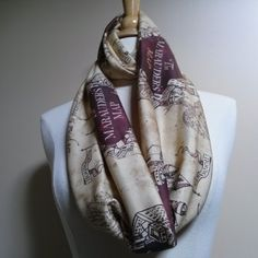 Marauders Map Infinity Scarf Harry Potter Scarf by TootSweetSkirts