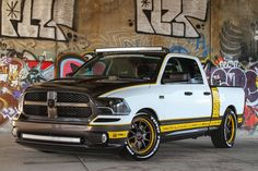 """Pfaff Designs built this """"Draggin' Wagon"""" Dodge Ram Express, powered by a Magnuson-supercharged 5.7L HEMI and riding on a lowered Belltech suspension, Toyo tires, and 20/22-inch Forgeline GA3C Concave wheels with a custom Yellow & Gray finish. See more at: http://www.forgeline.com/customer_gallery_view.php?cvk=1507 Photos by Barry Kluczyk, courtesy of Truck Trend Magazine. #Forgeline #GA3C #ConcaveWheels #notjustanotherprettywheel #madeinUSA #Dodge #Ram #HEMI #DragginWagon"""
