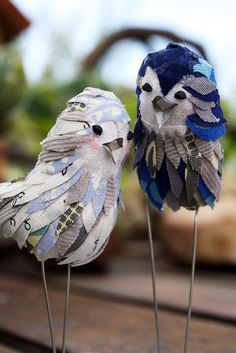 These are actually cake toppers, but they would be just as cute as decorations for a table, windowsill or mantelpiece. You just need to shape the body out of clay, paper mache, foam or whatever other material you can think of, and then decorate the shapes with fabric pieces and wire legs.