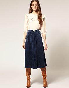 Suede Midi Skirt