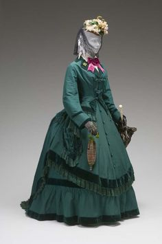 AFTERNOON ENSEMBLE (BODICE, SKIRT, OVERSKIRT, COAT, UNFINISHED 2ND BODICE) CIRCA 1860 Silk faille, silk velvet, polished cotton Mint Museum