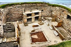"Skara Brae is a stone Neolithic settlement on the island of Mainland in the Orkneys.   It was inhabited from roughly 3150 to 2500 B.C.  It is the most intact Neolithic settlement in Europe, gaining it UNESCO World Heritage Site status and the nickname of ""Scottish Pompeii""."