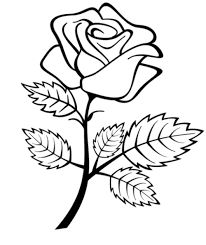 Roses flowers vine leaves bud open clip art black and white coloring pages google search mightylinksfo