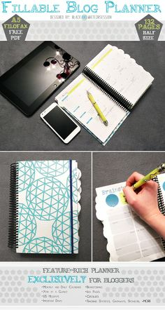 Free Printable Blogger Planner | Half-Size (Filofax A5). www.blackandwhiteobsession.com | This is such a good idea!!