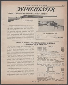 1956 WINCHESTER Model 97 Shotgun PRINT AD : Other Collectibles at GunBroker.com