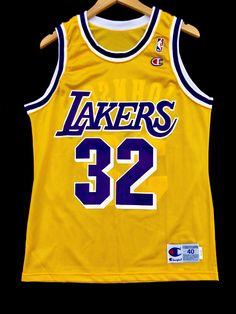be5f6ab3545 Magic Johnson Los Angeles Lakers Vintage Champion NBA Jersey 44 / Large  Vintage Champion, Magic