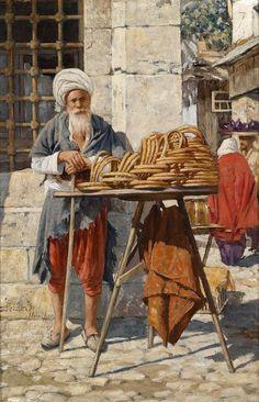 Oriental Street Vendor Metal Print by Daniel Israel Empire Ottoman, Middle Eastern Art, Arabian Art, Islamic Paintings, Turkish Art, Historical Art, Egyptian Art, Art Plastique, Ancient Art