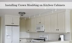 Adding Crown Moulding to Wall Kitchen Cabinets - Momplex Vanilla Kitchen