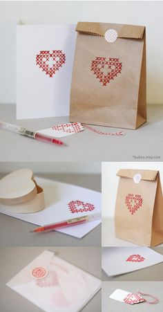 my first experience with making letterpress stationery. The set includes: kraft bag, sticker seal, tag, heart-shaped box and a card! // find it in my etsy shop