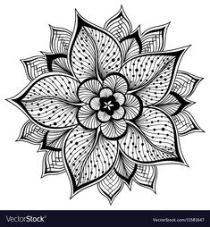 Vector Illustration Of Outline Mandala For Coloring Book. Hand-sketched Flower Stock Vector - Illustration of decoration, curve: 80282210 Mandalas Painting, Mandalas Drawing, Mandala Coloring Pages, Coloring Book Pages, Mandala Tattoo Design, Mandala Arm Tattoo, Lotus Mandala Design, Mandala Sketch, Tattoos Geometric