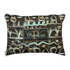 Aqua Tribal Stripes Faux Gold Texture Decorative Pillow
