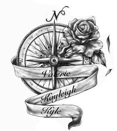 Compass Rose names tattoo