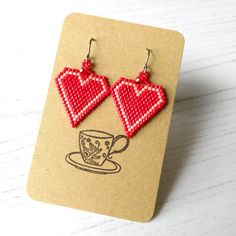 Valentine's Day Red Heart Earrings - The British Craft House Earring Box, Brick Stitch, Handmade Jewelry, Handmade Items, Heart Earrings, Craft House, House Gifts, Home Crafts, Hand Stamped