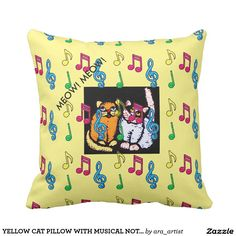 YELLOW CAT PILLOW WITH MUSICAL NOTES MEOW MEOW!