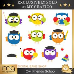 Owl Friends School Clipart - adorable owls for educational use, scrapbooking, crafts and more.
