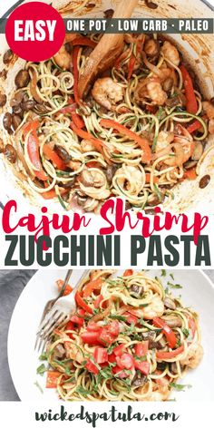 Cajun Shrimp Zucchini Pasta - Sometimes you just need a big heaping plate of pasta am I right? This recipe for Cajun Shrimp Zucchini Pasta is absolutely packed with flavor, veggies, and a delicious creamy sauce sans cream. Zucchini Pasta Recipes, How To Cook Zucchini, Zucchini Noodles, Healthy Zucchini, Zucchini Muffins, Paleo Recipes Easy, Paleo Meals, Free Recipes, Healthy Meals