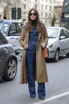 A chic way to style overalls for the winter